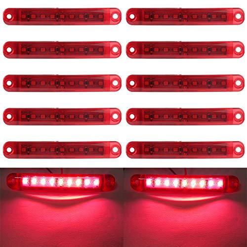 10 pz luce di indicatore laterale auto 9 LED SMD indicatore di posizione luce anteriore luci di posizione luce posteriore 12V per auto camper camion van camion rimorchio barca moto (rosso)