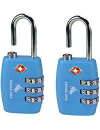 Texas USA TSA Florescent Blue Locks(Emztsa335ltblue-2) - Set of 2