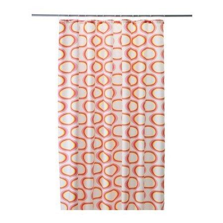 """IKEA Duschvorhang \""""SPRINGKORN\"""" Textilduschvorhang Badewannenvorhang - BxL 180x200 cm - ROT/WEISSE TÖNE"""