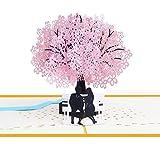 BC Worldwide Ltd fatto a mano 3D pop up San Valentino carta anniversario anniversario compleanno fidanzamento sakura ciliegio amante paio panca giardino parco partito invito