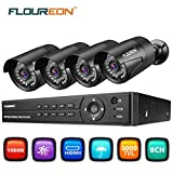 FLOUREON CCTV Cameras System 8CH ONVIF AHD DVR 4PCS Outdoor 1080P 3000TVL 2.0MP
