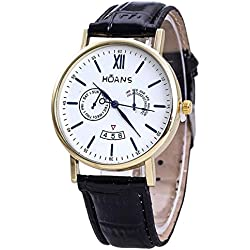 Men Wrist Watches - HUANS Men Rome digital Article Leather Band Quartz Wrist Watches Black Band+Gold Dial