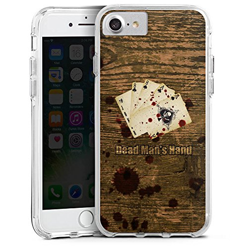 Apple iPhone 8 Bumper Hülle Bumper Case Glitzer Hülle Karten Cards Herz Bumper Case transparent