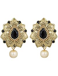 The Luxor Gold Plated Stone Studded Black Colored Earrings For Women(ER-1553)