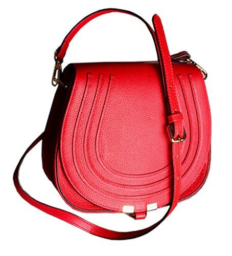 SAIERLONG Nuovo Donna Rosso Vera Pelle Borse Crossbody Sacchetti di spalla Rosso