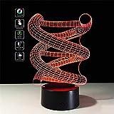 Deerbird 3D DNA Spiral visiva colorato LED di tocco tavolo Lampada Notte Leggero per Natale regali romantici vacanza (USB e 3 modalità di alimentazione a batterie AA)