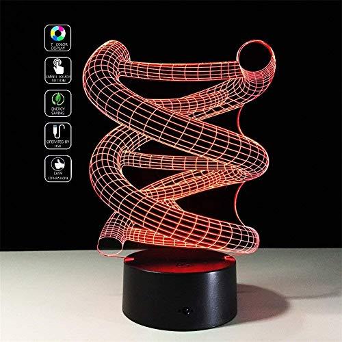 Deerbird® 3D DNA Spirale Optische Täuschung Bunte LED Berühren Schalter Schreibtisch Tisch Lampe Nacht Licht für Weihnachten Streich Geschenke USB And 3 AA batteriebetriebene - Nacht Licht Tisch Lampe Basis