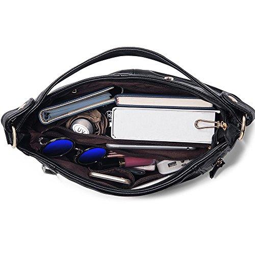 UTAKE Damen Handtasche Umhängetaschen PU Leder Schultertaschen Frauen Handtaschen Groß 38/30/12 cm (B*H*T) Schwarz