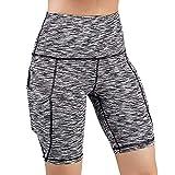 Feinny Damen Hosen Shorts Hose/Damenmode Lässig England Einfarbig Hohe Taille Enge Tasche Nähte Sport Fitness Shorts Yogahosen/Grau/S-XXL