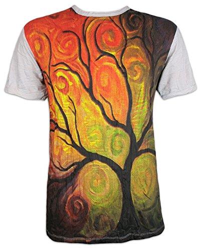 Sure Clothing Camiseta Hombre El Arbol de la Vida Talla M L XL Magia Buda Yoga Arte Psicodélico Boho Namaste (M, Gris Claro)