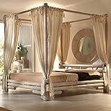 Himmelbett Tabanan 180 x 200 weiß | Bett mit Himmel Bambus
