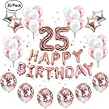 IEONGI Compleanno 25 Anni Oro Rosa Palloncini Decorazioni per Feste Rose Gold , con 24 Palloncini in Oro Rosa e Bianco 4 Palloncini in Oro Rosa e Argento Stella e Happy Birthday Banner 6 Palloncini