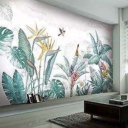 Plantes tropicales peintes à la main nordique moderne fleur oiseau feuille fond mural photo personnalisée papier peint pour le salon chambre, 350 * 245 cm