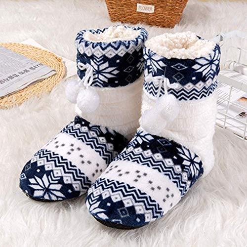 GONGFF Hausschuhe Winter Print Warmes Zuhause Hausschuhe Cute Ball Indoor Schuhe Frauen Baumwollgewebe Erwachsene Hausschuhe
