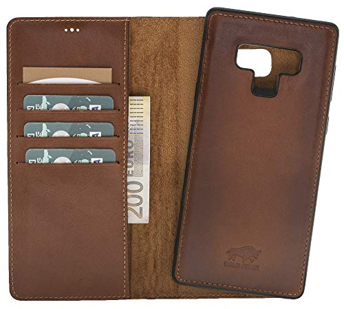 Preisvergleich Produktbild Solo Pelle Lederhülle Harvard kompatibel für das Samsung Galaxy Note 9 inklusive abnehmbare Hülle mit integrierten Kartenfächern (Cognac Braun Effect)