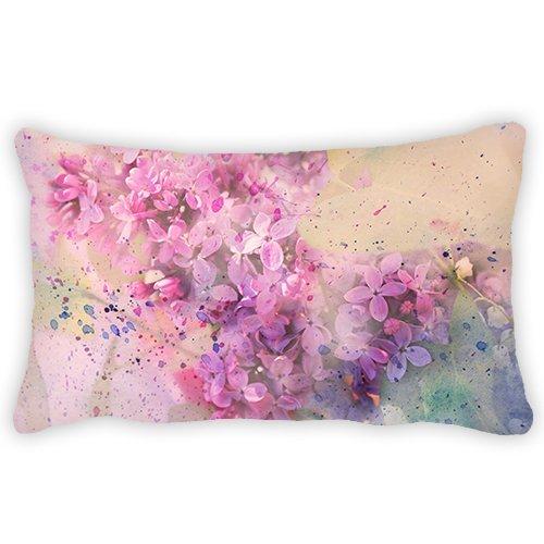 ColbyHazlitt Polyester Kissenbezug Schönes Rosa Blume Hintergrund Nackenrolle Überwurf Lenden Kissen Fall Kissenbezug für Couch Sofa Home Dekorative 30,5x 45,7cm 12x24 Lilac Printing -