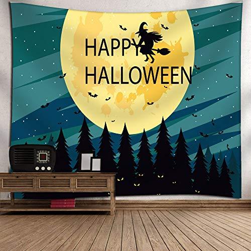 Sannysis Wandteppich Tapisserie Wandbehang Halloween Dekoration Fledermäuse Kürbis - Leben Größe Skelett Halloween