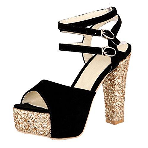 YE Damen Wildleder Knöchelriemchen Peep Toe Plateau Sandalen mit Glitzer Blockabsatz High Heel Modern Schuhe Schwarz