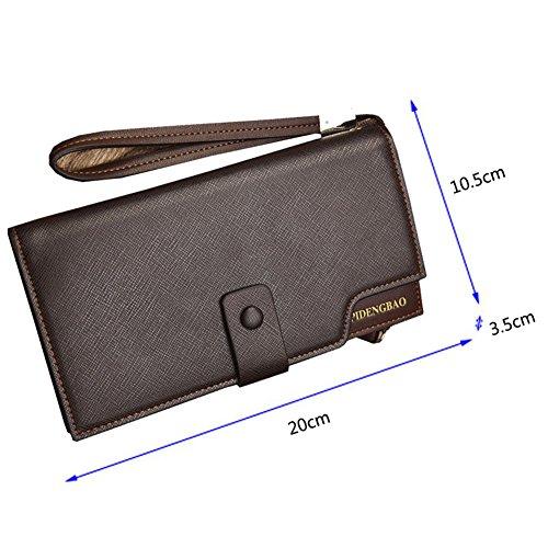 Wewod Große Kapazität Mode Herren lange Brieftasche Clutch Geldbeutel Geldbörse Portemonnaie mit Handy RV-Taschen und Münzgeldfach ca. 20*10.5*3.5 cm Braun-a