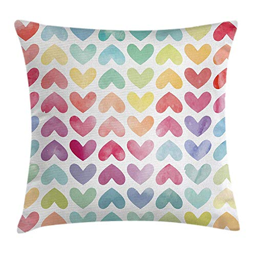 Romantic Decor Throw Pillow Cushion Cover by, Heart in Cycle Image Leaf like Print Decor with Rainbow Colors Artwork Image, Decorative Square Accent Pillow Case, 16 X 16 Inches, Multicolor -