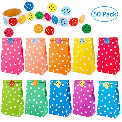 chenktüten Punktmuster mit Einer Rolle von 100 Smiley Aufkleber für Kinder Geburtstagsparty liefert ()