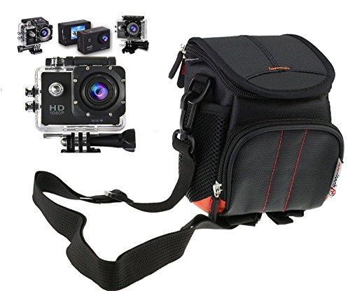 Navitech schwarz action Kameratasche / Abdeckung - Mit mehreren Taschen, einschließlich anpassbare interne Ablagefächer für die APEMAN A80/ A70/ A60 Action Camera