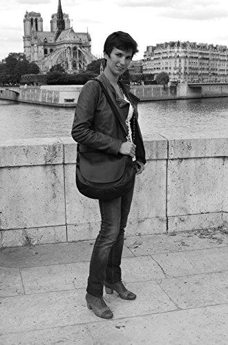 OH MY BAG Sac à Main en cuir souple femme porté bandoulière Modèle Perla (grand) Nouvelle collection ROUGE FONCE