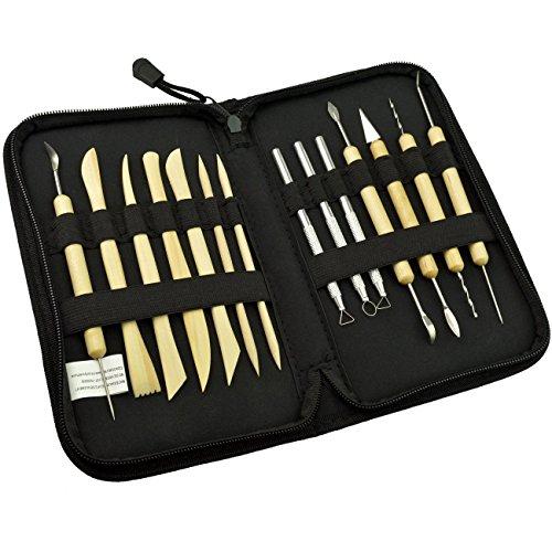 SUMERSHA Modellier-Werkzeug aus Holz und Metall Keramik Ton Skulptur Carving Werkzeug Set 14 Stück