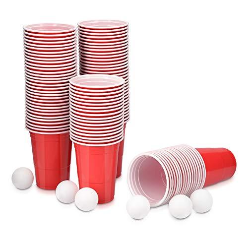 Navaris Beer Pong Becher Set mit Bällen - 100 Stück rote Plastikbecher inkl. 6 Bälle in Weiß - Trinkspiel Partybecher - Trinkbecher 473ml 16oz