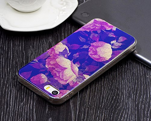 EKINHUI Case Cover Für Apple IPhone 5 & 5s & SE Fall, Ultra Thin Leichtgewicht Luxus Blau Licht TPU Silikon Gel Schutzmaßnahmen zurück Deckung ( Color : I ) K