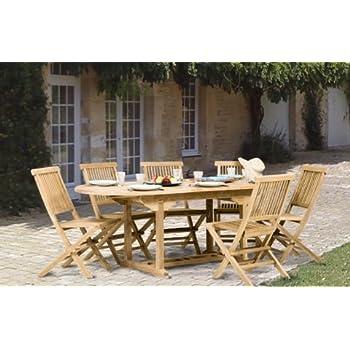 MACABANE 501223 Salon de Jardin Couleur Naturel et Taupe en Teck et ...