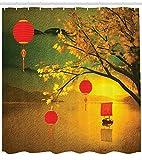 ABAKUHAUS Lanterna Tenda da Doccia, Cinese Tradizionale, Stampa Digitale su Tessuto, 175 x 220 cm, Multicolore