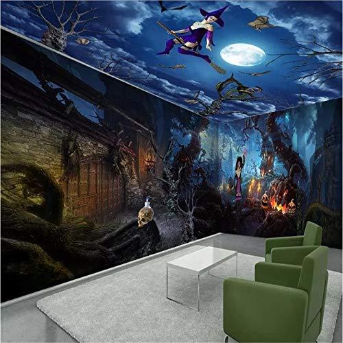 ZYLBDNB Wandkunst des Wand-3D, Tapeten-Halloween-Schreck-Nachtvolles Haus-Hintergrund-Wand-Malerei-Partei-Dekorations-Hintergrund,360X280CM