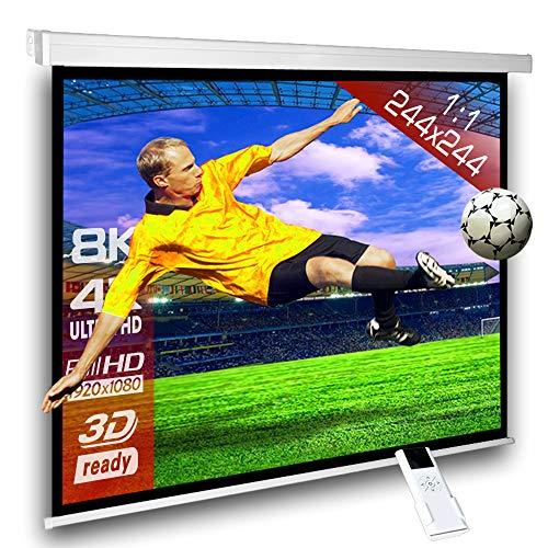 SlenderLine Motorleinwand 244 x 244cm | 1.2 Gain | Format 1:1 | 2D & 3D | FULL-HD 4K 8K Ultra-HD | elektrische Beamer Leinwand für Heimkino & Präsentation | inkl. Fernbedienung | geeignet für alle LCD DLP & LED Videoprojektoren