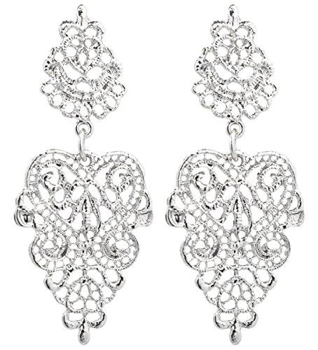 2LIVEfor Traumhafte Ohrringe Ethno Gross verziert Ohrringe Bohemian Vintage Ohrringe lang Hängend Antik Style Ornamente Barock Tropfen (silber) (Silber)
