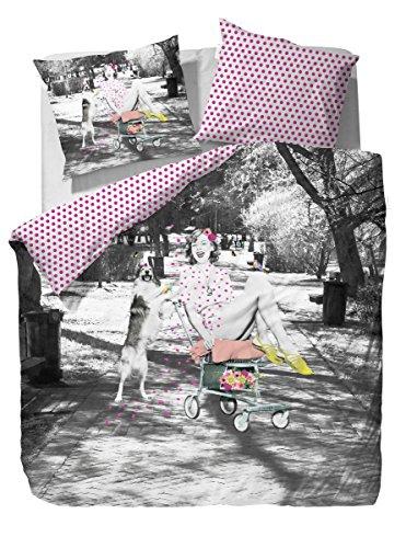Covers & Co Parure de lit LIZ Grey, Coton, Gris, 135 x 200 cm