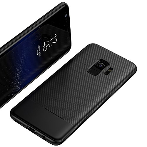 NALIA Handyhülle kompatibel mit Samsung Galaxy S9, Ultra-Slim Soft Silikon Case, Dünne Carbon Look Schutzhülle, Etui Handy-Tasche Back-Cover Bumper, TPU Smart-Phone Gummihülle, Farbe:Schwarz