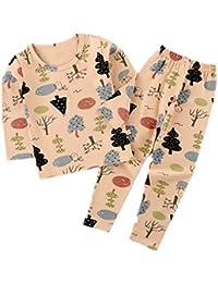 Hongxin Manga Larga Pyjama Sets Conjuntos de Pijama para Niñas Niño Pijama con Estampado de algodón de Ajuste cómodo de 2 Piezas 90cm-160cm