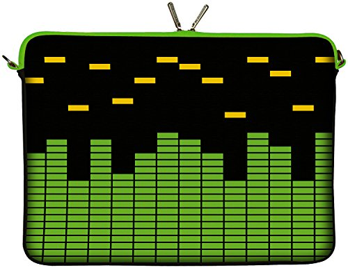 Digittrade LS154-17 Equalizer Designer Laptopschutzhülle Notebooktasche 17,3 Zoll (43,9 cm) Notebook Sleeve Laptop Schutzhülle Tasche Musik grün schwarz gelb