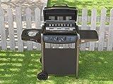 Barbecue Grill BBQ a Gas con Termometro - Giardino Griglia Picnic Terrazzo 2+1 Colore Nero - EGLEMTEK® TM