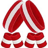Bememo Schweißbänder Set, Enthaten Sport Stirnband und Schweißbänder Bunt Handgelenk Schweißband aus Baumwolle für Männer und Damen (Rot Weiß und Rot, 6 Stücke)