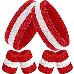 Bememo Schweißbänder Set, Enthaten Sport Stirnband und Schweißbänder Bunt Handgelenk Schweißband aus Baumwolle für…