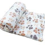 WeiMay Cuscino per cani Pet accogliente caldo - Tappeto morbido in pile con animali domestici Coperta stampata per cani Animali di gatti, 80x60cm (Beige)