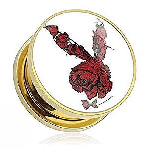 0GA (8mm) offizielle Playboy Bunny Print Rose Gold chirurgischem Stahl Ohr Tumor förmigen Ohrring überzog (Offizielle Playboy Bunny Kostüme)