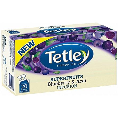 Tetley Superfruits BLUEBERRY & ACAI (Mirtillo e Acai) busta tè confezione da 20 x 6 scatole