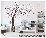 Bdecoll Wandaufkleber Kirschbaum Weiß Baum Wandsticker für Kinder Schlafzimmer/ Natur Vögel Art Dekor Heim Bunt aufkleber,Aufkleber/Sticker,Vinyl, für Kinderzimmer (Brown)