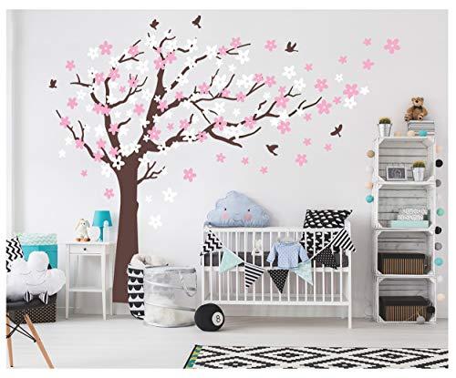 Bdecoll albero di ciliegio adesivi da parete, albero di natale bianco, adesivi da parete per la camera dei bambini, adesivi da parete per soggiorno, per cameretta dei bambini