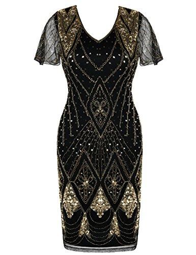 kayamiya Great Gatsby Kleid der 1920er Jahre Pailletten Perlen inspiriert Cocktail Flapper Kleid L Gold