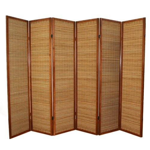 PEGANE Biombo de madera castaño con bambú de 6 paneles