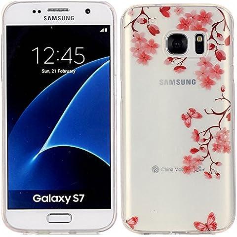 Voguecase® Per Samsung G930 Galaxy S7, Custodia Silicone Morbido Flessibile TPU Custodia Case Cover Protettivo Skin Caso (Farfalla Amore Fiore 02) Con Stilo Penna